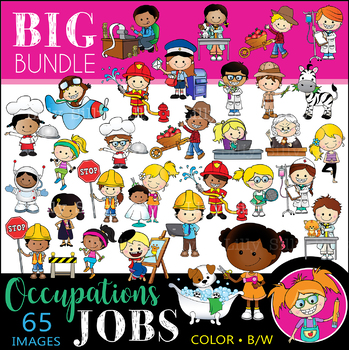 OCCUPATIONS - BIG BUNDLE. BLACK AND WHITE & Color Clipart. {Lilly Silly Billy}