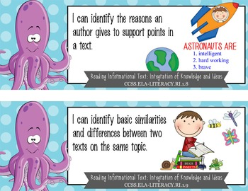 "OCEAN - 1st Grade Common Core Standards ""I CAN"" format / posters"
