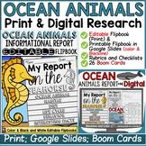 OCEAN ANIMALS RESEARCH TEMPLATES: PRINT & DIGITAL- GOOGLE DRIVE-BOOM CARDS