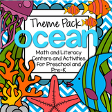 OCEAN ANIMALS Literacy and Math Centers for Preschool - 106 pages