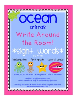 *OCEAN ANIMALS* Read/Write Around the Room (Letters/Sight Words)