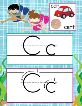 OCEAN - Alphabet Cards, Handwriting, ABC Flash Cards, ABC print with pictures