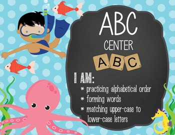 OCEAN - Classroom Decor: Center Signs, student cards