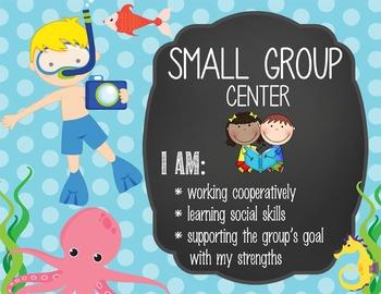 OCEAN - Classroom Decor: Center Signs, student cards