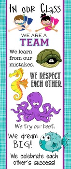 OCEAN - Classroom Decor: LARGE BANNER, In Our Class / seahorse