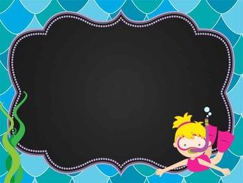OCEAN - Classroom Decor: editable chalkboard POSTERS / Bistro Chalk Markers