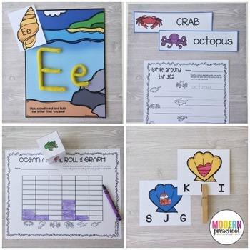 OCEAN Literacy & Match Centers (Preschool, PreK, Kindergarten)