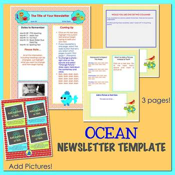 ocean newsletter template word by the newsletter store tpt