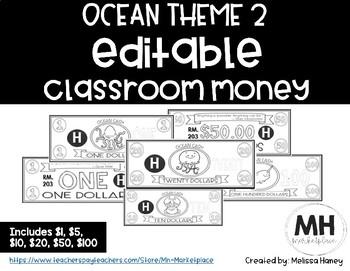OCEAN THEME 2 - Classroom Money - EDITABLE