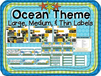 OCEAN Theme LABELS Large, Medium, & Thin Plastic Drawer Units