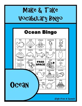 OCEAN Vocabulary BINGO Make & Take, SPEECH THERAPY