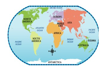 Oceans And Continents Labeled Map Worksheets & Teaching ...