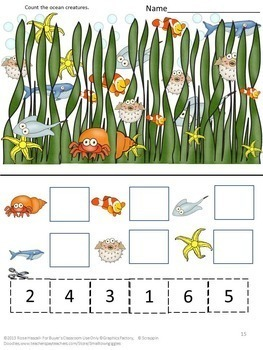 Ocean Bundle Math and Literacy Centers Special Education Fine Motor Skills