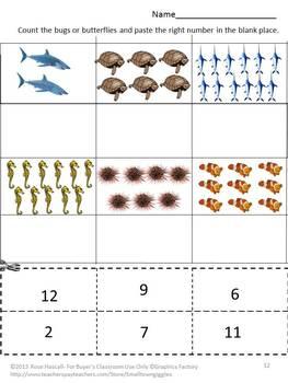 Ocean Animals, Cut and Paste Activities, Summer Special Education, Summer School