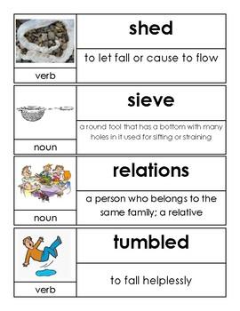Kindergarten Open Court Unit 9 Vocabulary Cards
