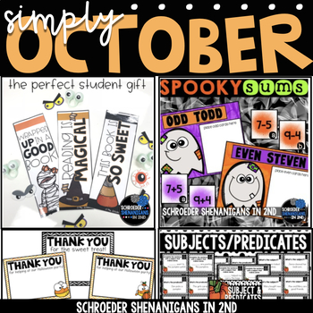 OCTOBER BUNDLE - Math centers, task cards, and Bookmarks