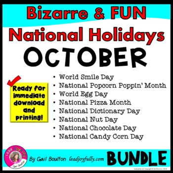 Bizarre and FUN National Holidays to Celebrate your Staff (OCTOBER BUNDLE)