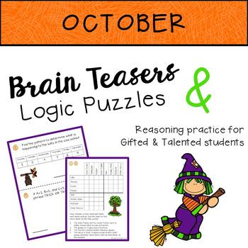 OCTOBER Brain Teasers & Logic Puzzles FREEBIE