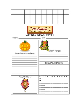 OCTOBER CHECKLIST AND WEEKLY NEWSLETTER TEMPLATES