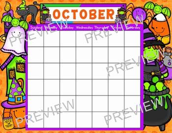 """OCTOBER Calendar Chart 17""""x22"""""""