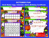 OCTOBER FUN Birthday and Halloween certificates Calendar and Desk name plates