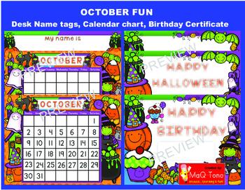 OCTOBER FUN Birthday and Halloween certificates Calendar a