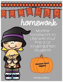 PreK/K Homework, October, Monday thru Thursday