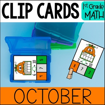OCTOBER Math Centers - Clip Card Task Boxes 1st Grade
