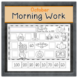 OCTOBER Kindergarten Morning Work  | Phonics Writing Math