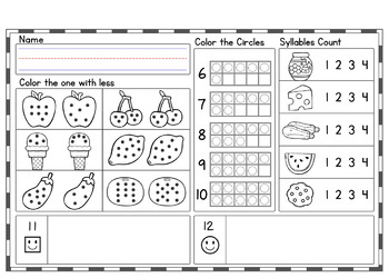 OCTOBER Kindergarten Morning Work  | Phonics Writing Math