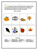 OCTOBER WORD MATCH: STUDENTS MATCH THE PICTURE TO THE WORD