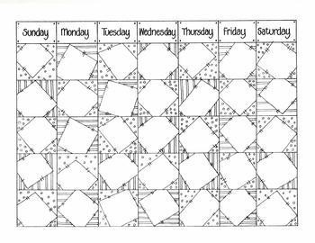 OCTOBER 'patchwork' calendar dates (blank)