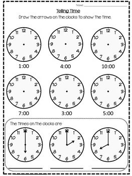 o 39 clock worksheet by apple bottom beans teachers pay teachers. Black Bedroom Furniture Sets. Home Design Ideas