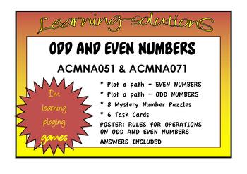 ODD and EVEN NUMBERS - 2 Fun Worksheets - 6 Task Cards - Poster - ANSWERS (6p)