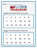 MATH ODD or EVEN: 5 page activity. Students decide if the number is ODD or Even.