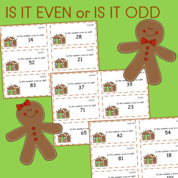 ODD or EVEN Gingerbread Houses Math Center Cards