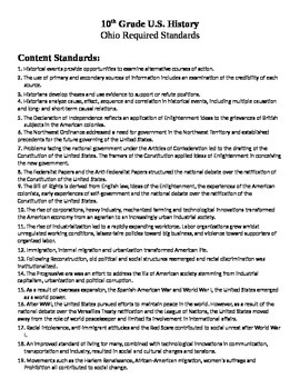 ODE  10th Grade U.S. History List of 33 Content Standards Social Studies Ohio