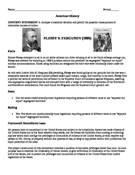 ODE  Social Studies Content Statement 1 U.S. History: Homework Plessy Case