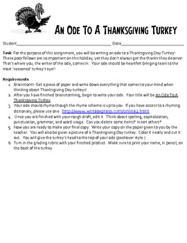 ODE TEACHING PACKET- Thanksgiving and Christmas Poetry As Well!