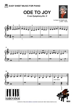 ODE TO JOY - EASY SHEET MUSIC