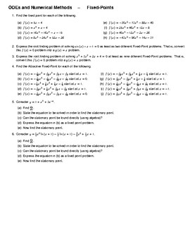 ODEs and Numerical Methods – Fixed-Points