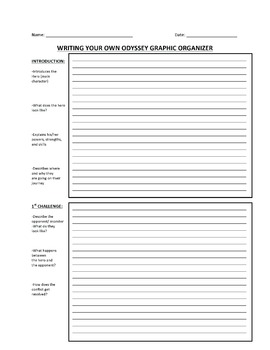 ODYSSEY PAPER, GRAPHIC ORGANIZER, AND RUBRIC