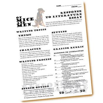 OF MICE AND MEN Essay Prompts & Grading Rubrics