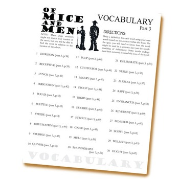 OF MICE AND MEN Vocabulary List and Quiz (part 3)