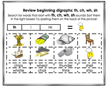 OFFICIAL Beginning Digraph Sorts NO PREP Differentiated K-2! (th, sh, ch, wh)