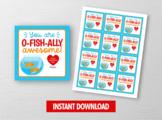 OFISHALLY Awesome Valentine Card, Goldfish Square Tags, School Exchange Ideas