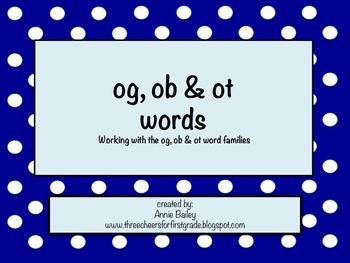OG, OT & OB Word Study Sort and Activities