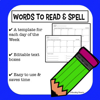 OG Orton-Gillingham Lesson Words to Read and Words to Spell Template