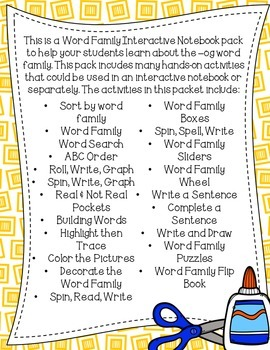 OG Word Family Interactive Notebook