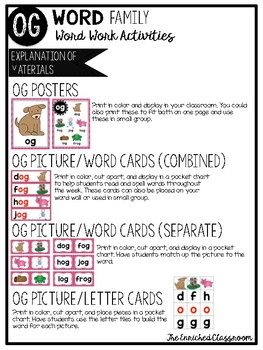 OG Word Family Word Work Activities